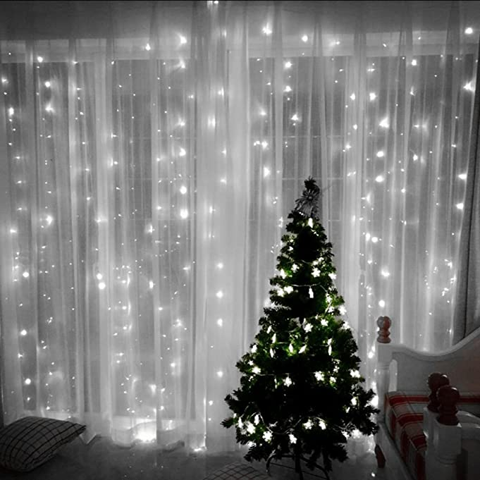 Amazon.com : Curtain String Lights, 300 LED Icicle Wall Lights, Fairy  Indoor Starry Lights 8 Mode For Wedding, Bedroom, Christmas, Holiday,  Party, ...
