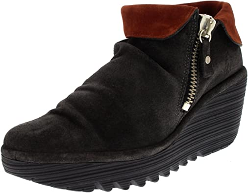 the best attitude another chance sleek Womens Fly London Yoxi Wedge Fold Cuff Oil Suede Platform Ankle ...