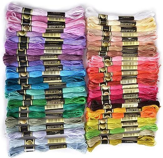 Hilo de punto de cruz de algodón mixto de poliéster, 200 colores ...