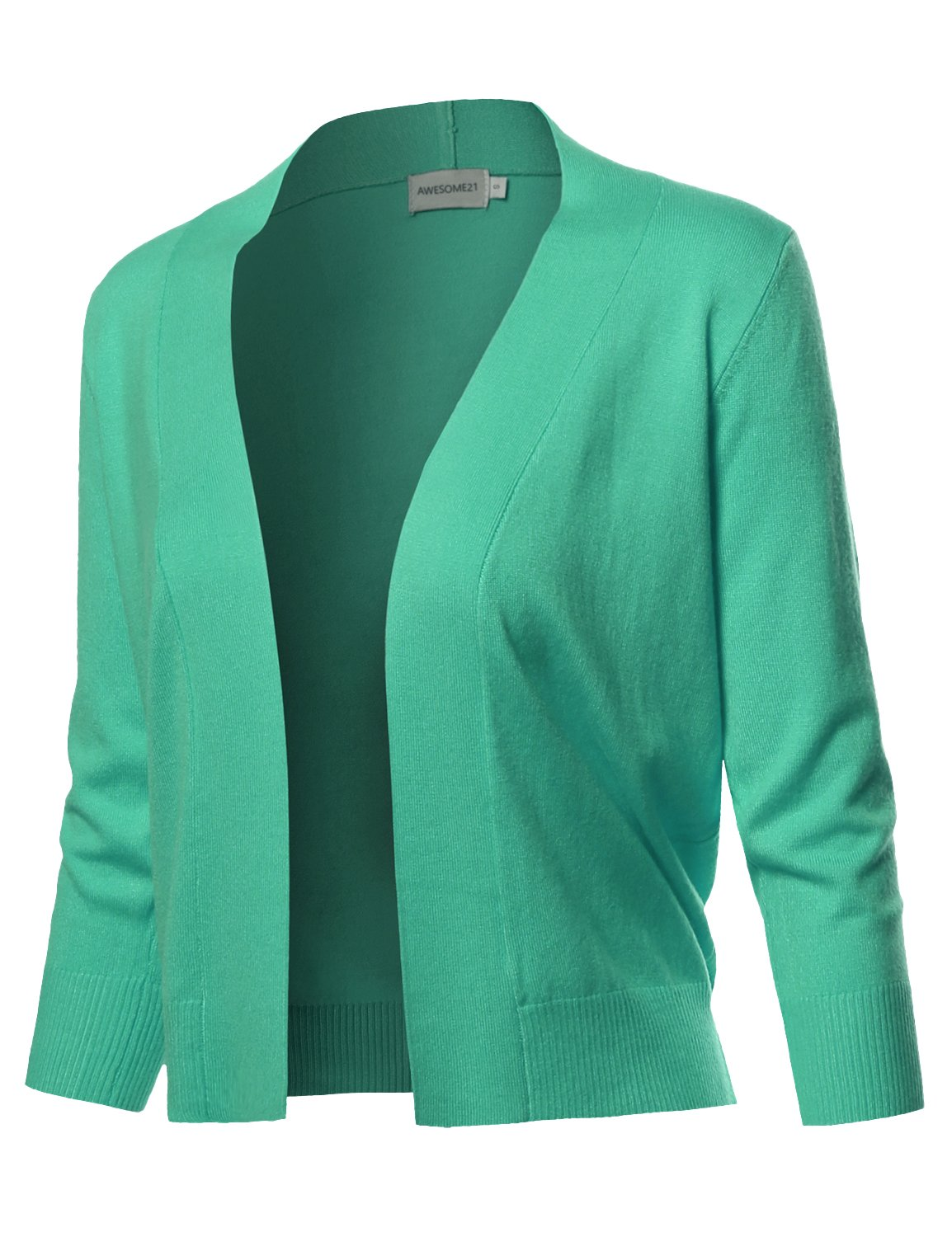 Awesome21 Solid Soft Stretch 3/4 Sleeve Layer Bolero Cardigan Green Size XL