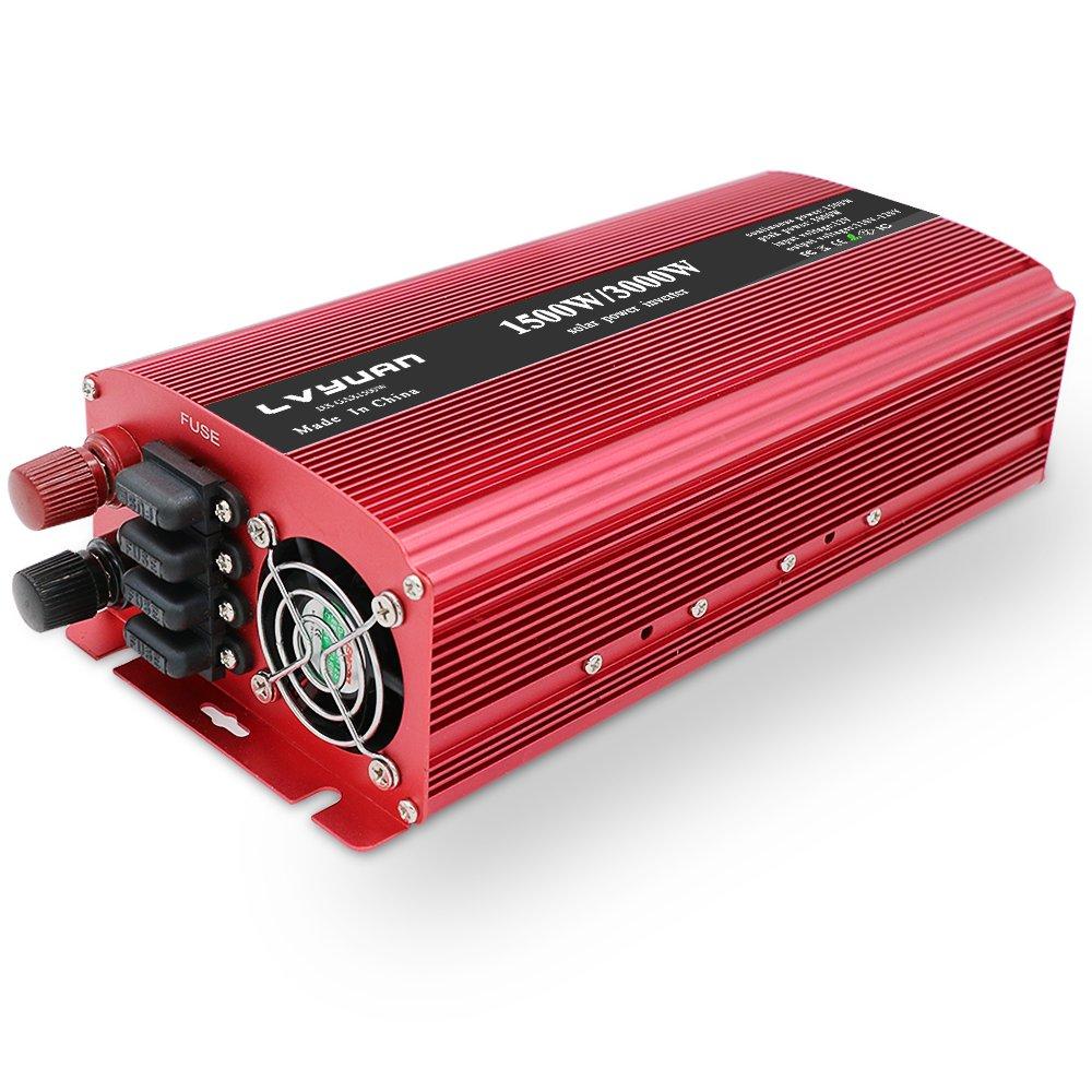 Yinleader Inversor de potencia de 1500 W y 3000 W con doble toma de CA y doble puerto de carga USB DC 24V inversor convertidor 24V 220v a 230V 240V CA convertidor de coche con pantalla digital