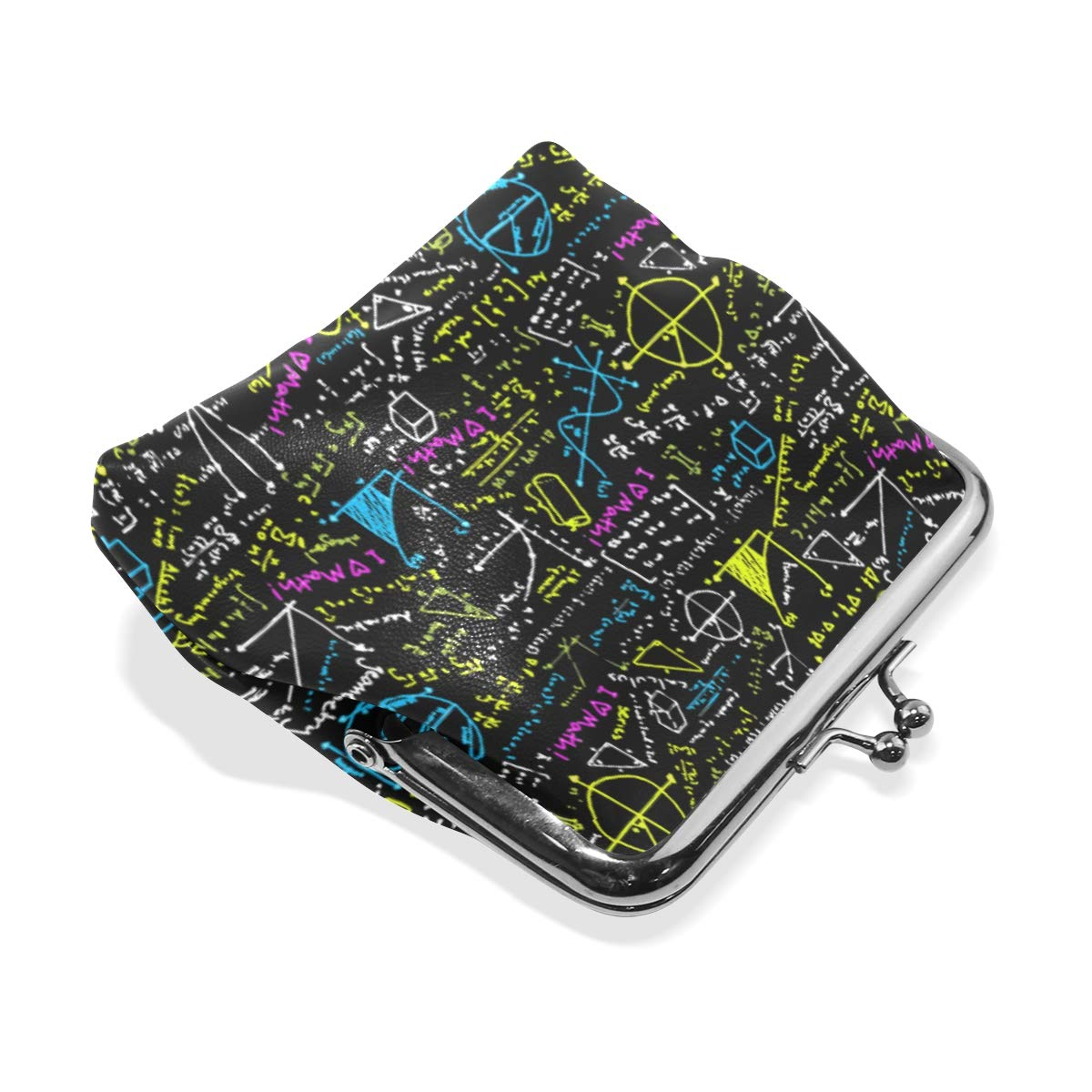 Black Math Physics Formula Coin Purse Buckle Vintage PU Pouch Kiss-lock Wallet for Women Girl