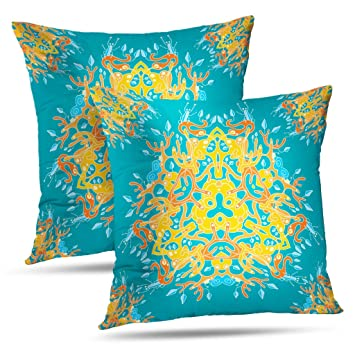 Amazing Amazon Com Lalilo Set Of 2 Throw Pillow Covers Turquoise Creativecarmelina Interior Chair Design Creativecarmelinacom