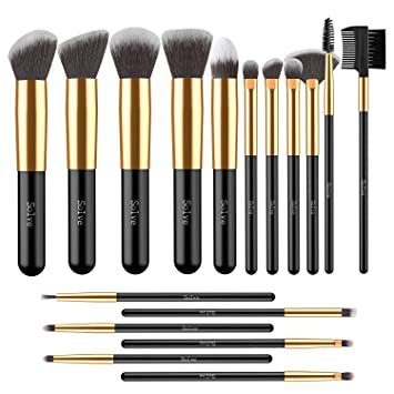 Makeup Brushes, SOLVE 17pcs Professional Kabuki Cosmetics Brush Set Foundation Powder Eye...
