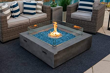 Amazon Com Akoya Outdoor Essentials 42 X 42 Square Modern Concrete Fire Pit Table W Glass Guard And Crystals In Gray Cobalt Blue Garden Outdoor