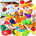 FLY2SKY 60 Pcs Play Food Toys for Kids Kitchen Pretend Cutting Toys Fruits Food Cake Play Set Christmas Birthday Gifts for To