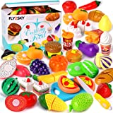 FLY2SKY 60 Pcs Play Food Toys for Kids Kitchen Pretend Cutting Toys Fruits Food Cake Play Set Christmas Birthday Gifts…
