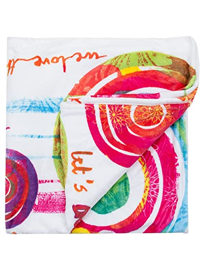 Desigual Toalla Playa Paint Party Blanco/Rosa/Verde 85 x 155 cm