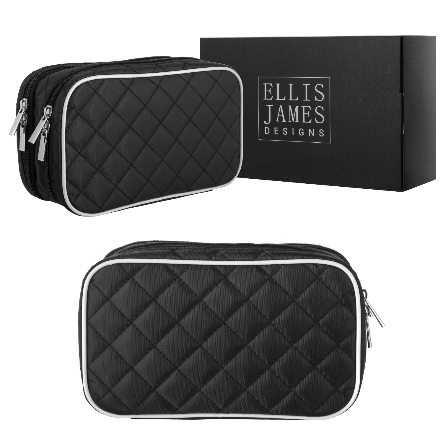 Ellis James Designs Quilted Travel Jewelry Organizer Bag Case - Black - with Makeup Pouch Compartments Soft Padded Travel Jewelry Roll and Make Up Bags 2-in-1 Cosmetic Cases with Necklace Holder
