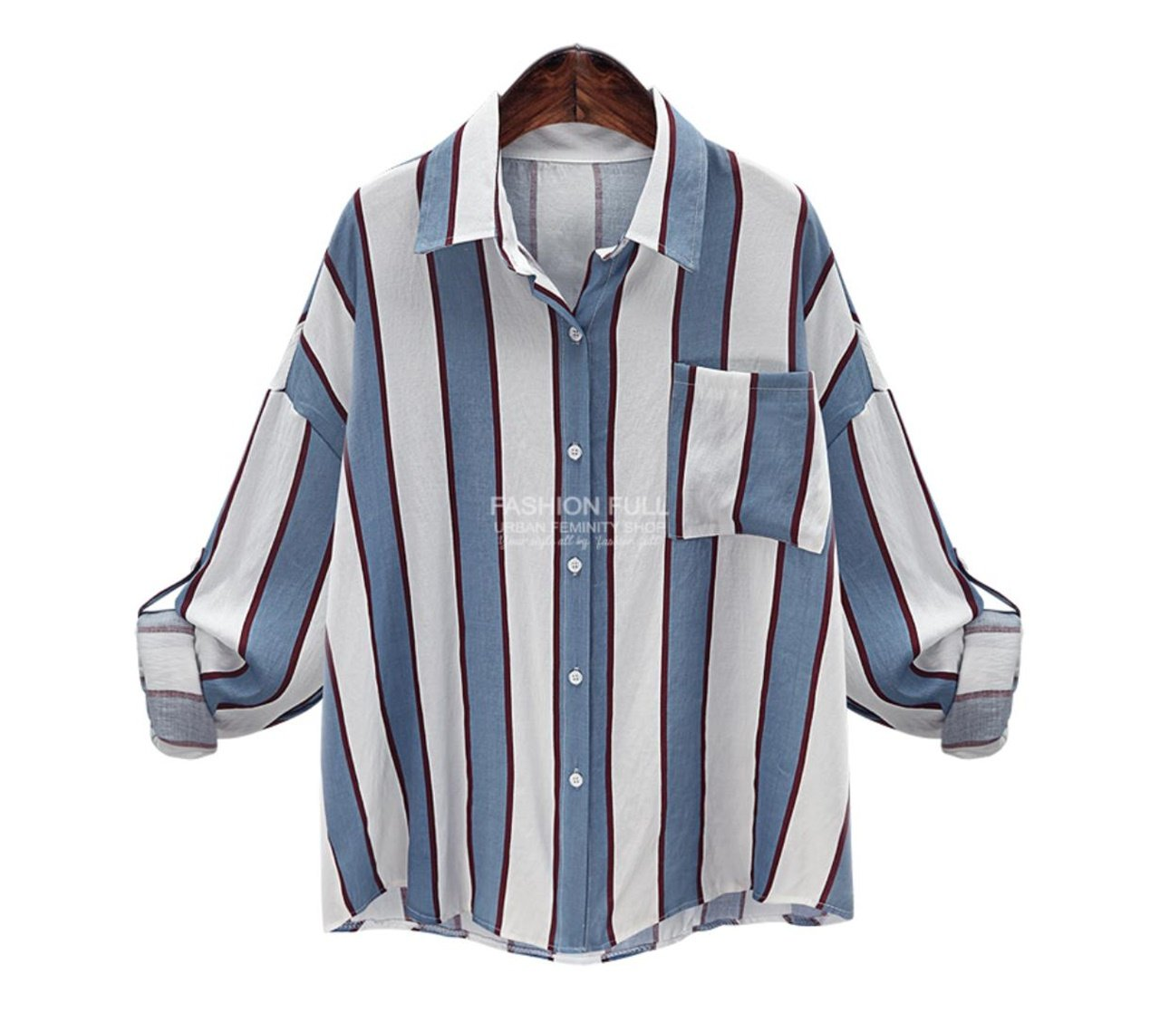 ten is heart Long Sleeve Blouse Shirts Striped Women Cute Tops Big Silhouette(Medium, Sax) Hilarious Linen Humorous Office Weird Customized Business Quirky it Fun Flower Novelty Stretchable fine Tops