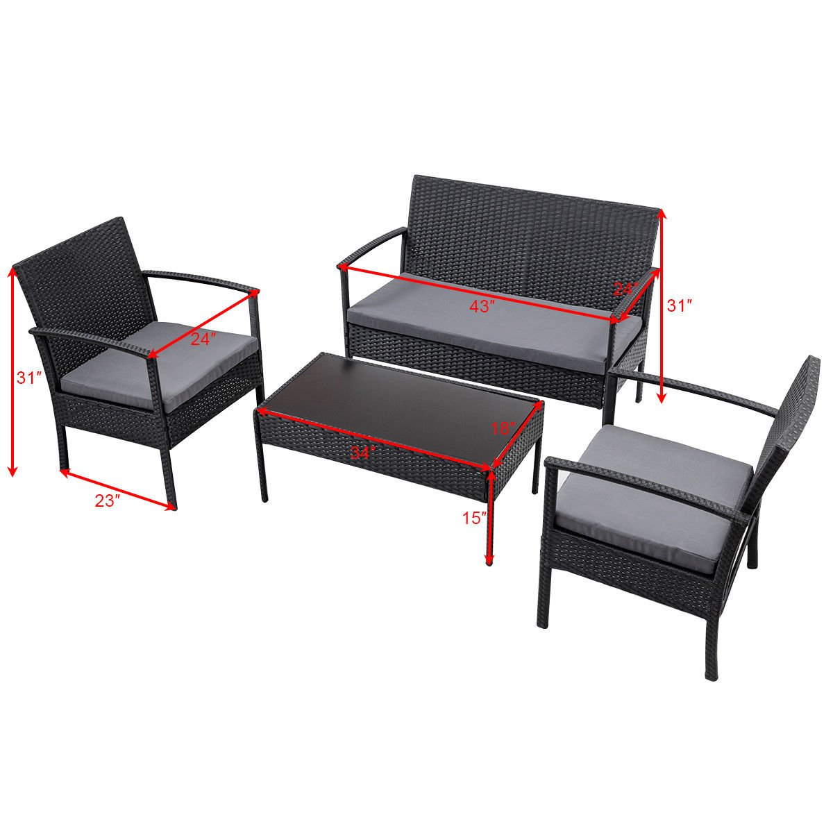 ANA Store Black Wicker Yard Meeting Seat Set of 4 Pcs Rectangle Body Tempered Glass Top Bar Sofa Side Table with Mattress Lounge 2 Cushion Backrest Ottoman 4 Piece Stylish Rattan Outdoor Chat Seating