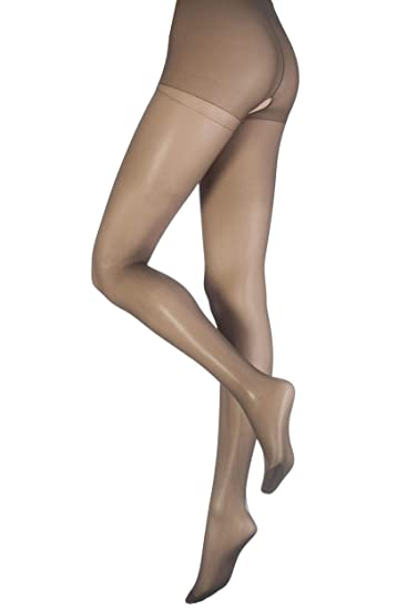 c6e7cc77a71 Pretty Polly Women s 1 Pair 15 Denier 100% Nylon Pretty Cool Open Gusset  Tights at Amazon Women s Clothing store