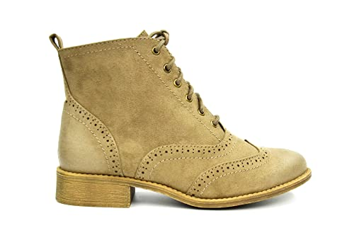 shf64 * Botines Boots planas efecto ante Uni perforado con cantos reforzados, extremos efecto encerado y cordones - Mode Mujer (Topo): Amazon.es: Zapatos y ...