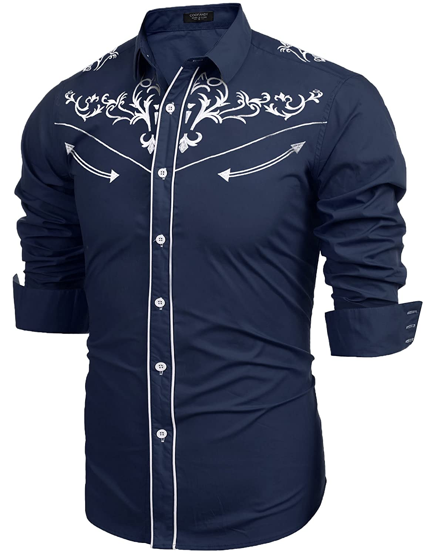 JINIDU Mens Slim Fit Button Down Shirts Western Cowboy Embroidery Retro Shirt