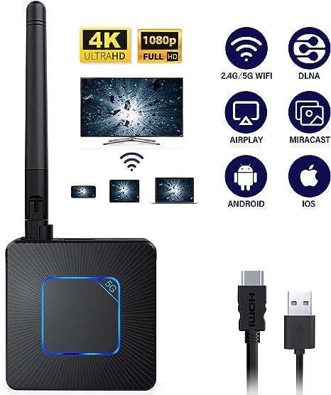 SAMMIX Adaptador de Pantalla inalámbrica, 5G/2.4G Dual WiFi ...