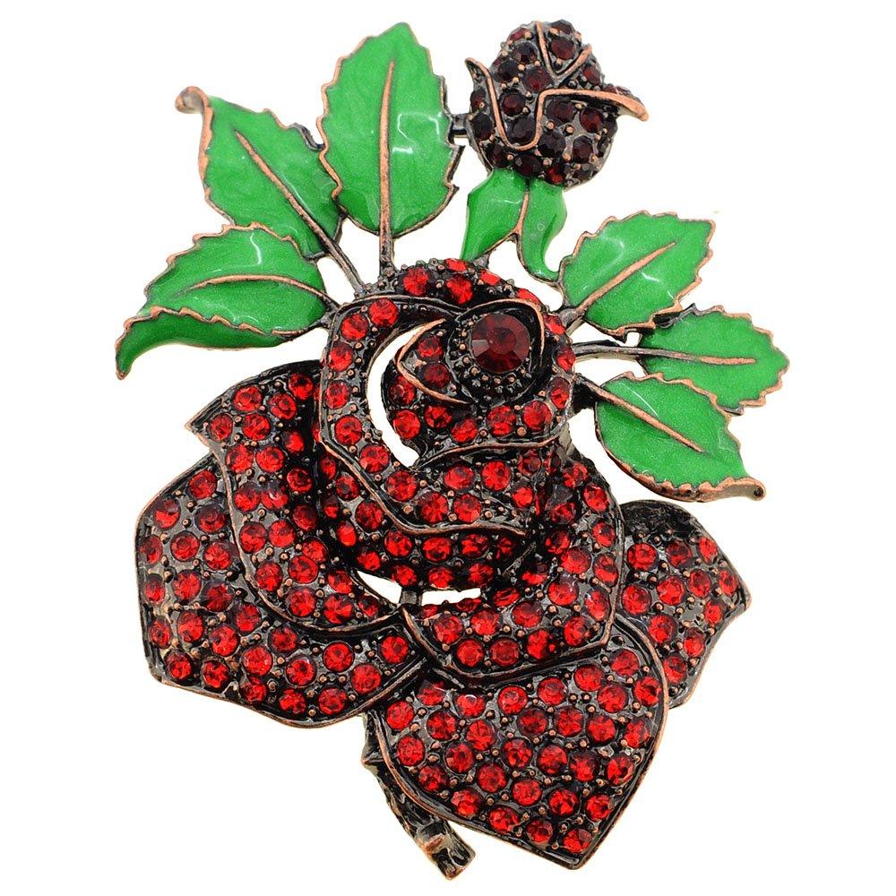 Fantasyard Red Rose Crystal Flower Pin Brooch