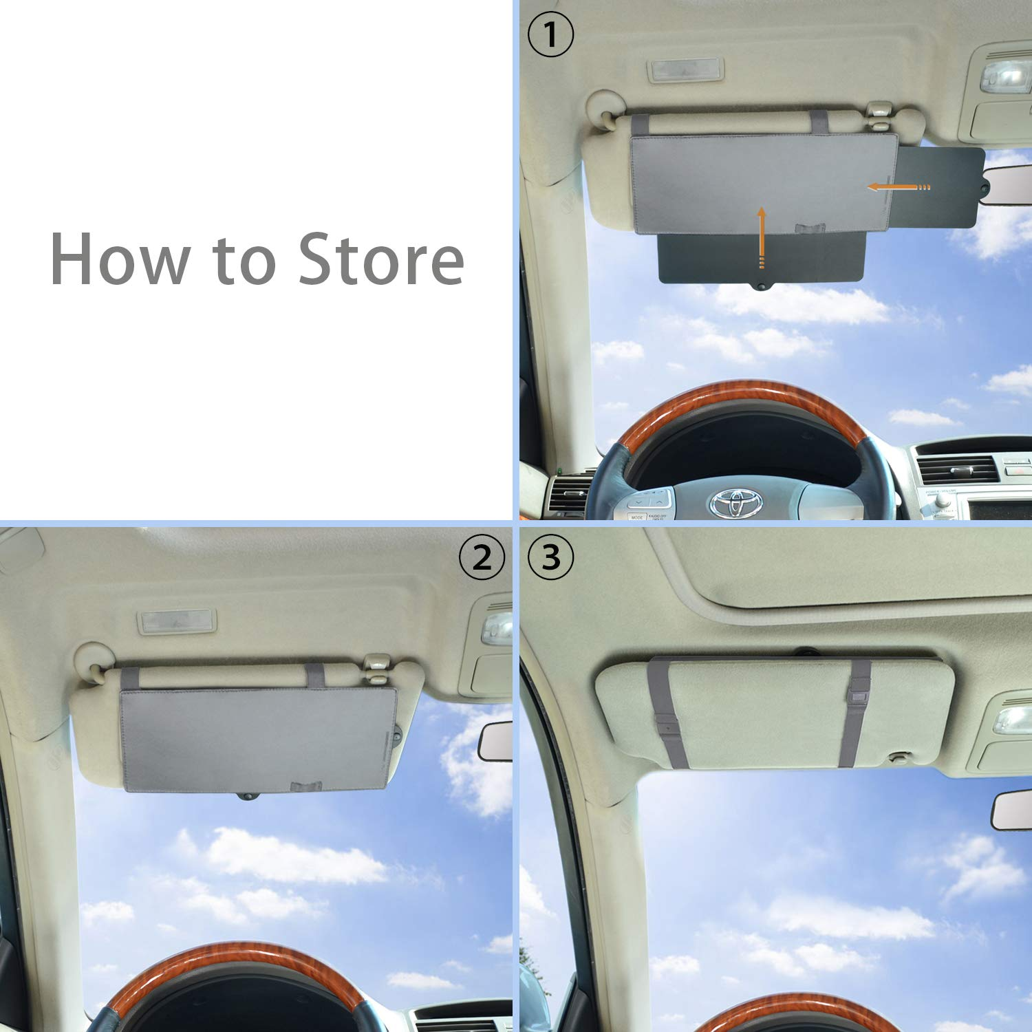 Gray TFY Car Visor Sunshade Extender Anti-Glare Sun Visor Extender Window Sunshade and UV Rays Blocker 2 Pieces