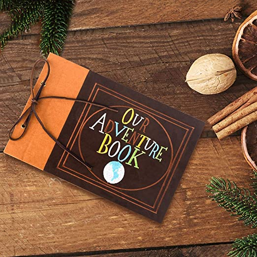 Suede Hardcover Scrapbook with Pixar Up Themed Postcards LINKEDWIN Embroidered Our Adventure Book 80 Pages Memory Keepsake 11.6 x 7.5 inch Light Brown Wedding and Anniversary Photo Album