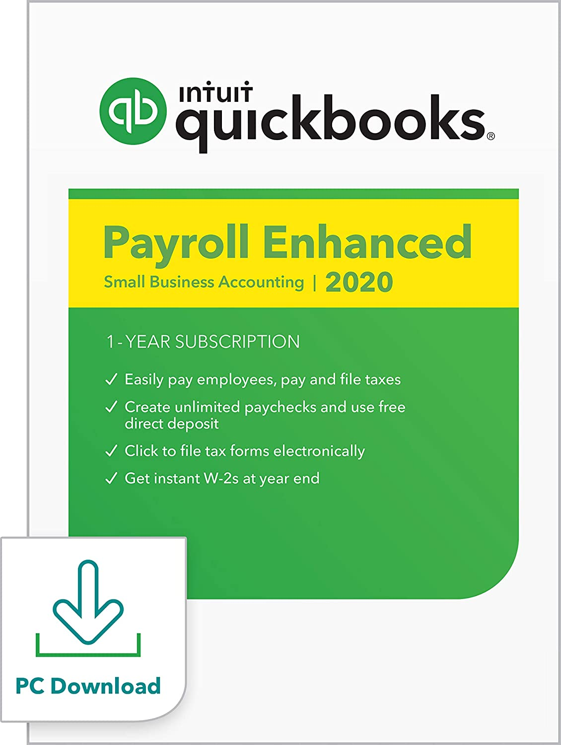 QuickBooks Desktop Enhanced Payroll 2020 I Compatible with QuickBooks Pro, Premier, and Enterprise [PC Download]