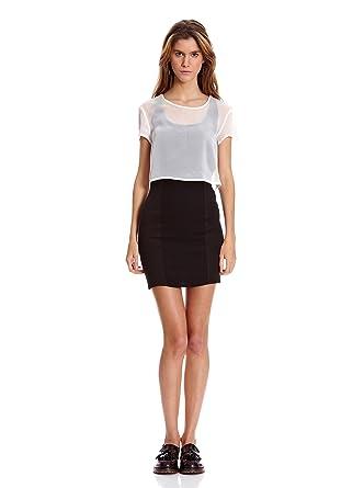 brand new e18d6 eee55 Bershka Abito M/S Con Écru M: Amazon.it: Abbigliamento
