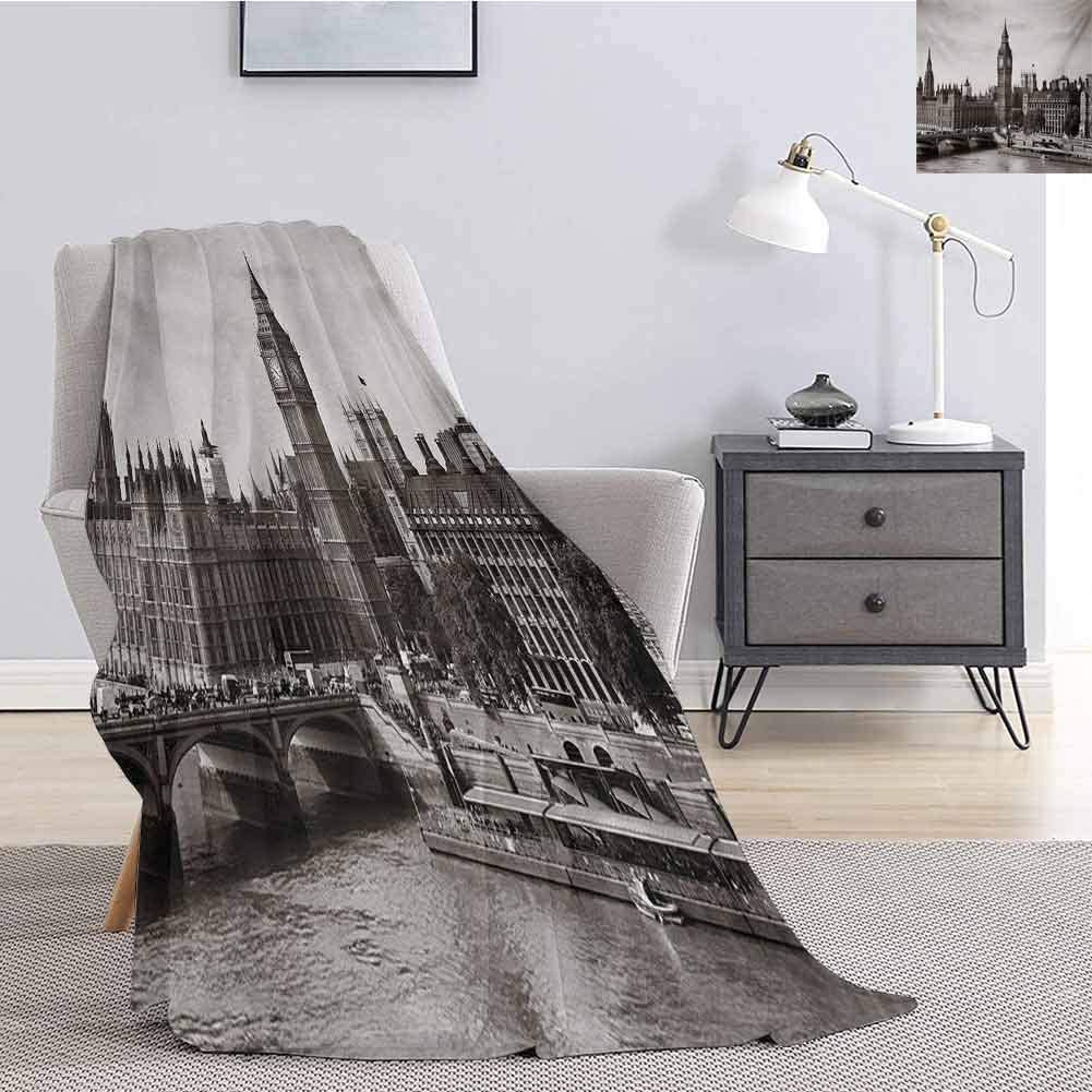 Luoiaax London Children's Blanket Westminster with Big Ben and Bridge Nostalgic Image British Antique Architecture Lightweight Soft Warm and Comfortable W91 x L60 Inch Sepia White