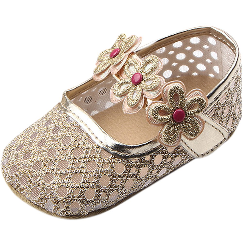 Fire Frog Sweet Baby Girls Summer Mary Jane Princess Dress Soft Soled Bottom Shoes Gold 12-18 Month
