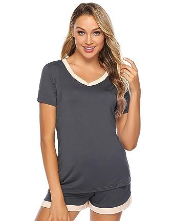 8c9c2bd71a4 Aibrou Women s Shorts Pajama Set Cotton Short Sleeve Sleepwear Nightwear  (A Dark Grey