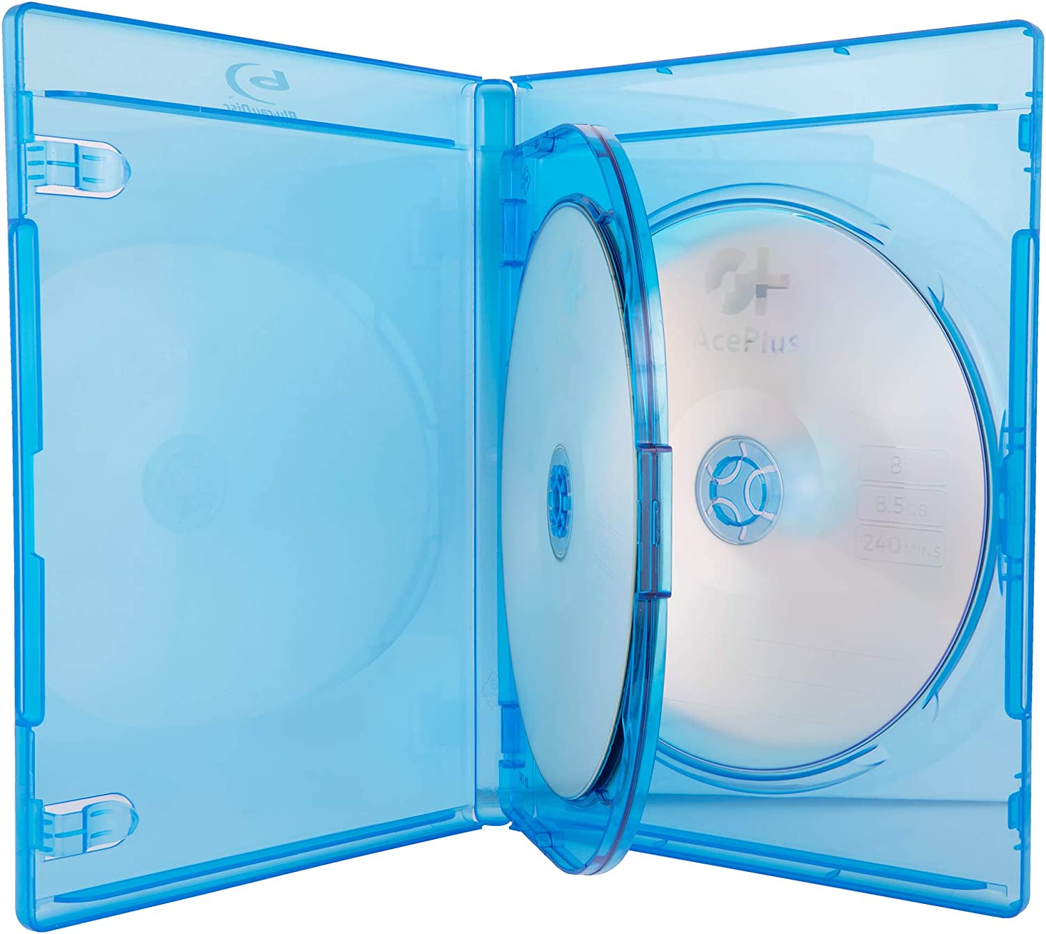 AcePlus 25 Pieces Premium Blu-ray Replacement Case 12mm Triple for 3 Discs with Screen Printed Logo and Wrap Around Clear Plastic.