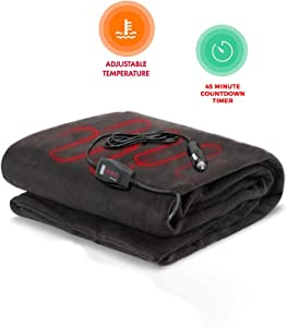 Zento Deals Electric Heated Car 12V Blanket- Polar Fleece Material Blanket - Cold Days and Nights Road Trip, Home and Camping, Safer Nonflammable Wiring and Fabric