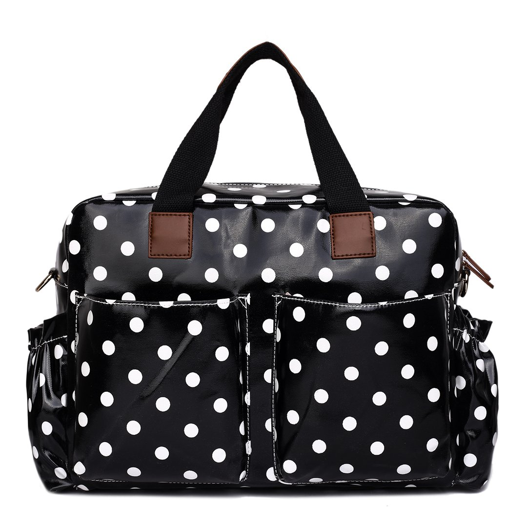 Miss Lulu 4 Piece Polka Dot Baby Nappy Changing Bag Set Black