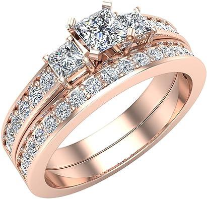 Amazon Com Wedding Rings Bridal Set Princess Cut Engagement Ring