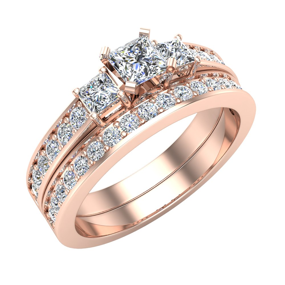 Past Present Future Princess Cut Diamonds 3 stone Accent Round Diamonds Wedding Ring Set 1.06 carat total weight 14K Rose Gold (Ring Size 7.5)