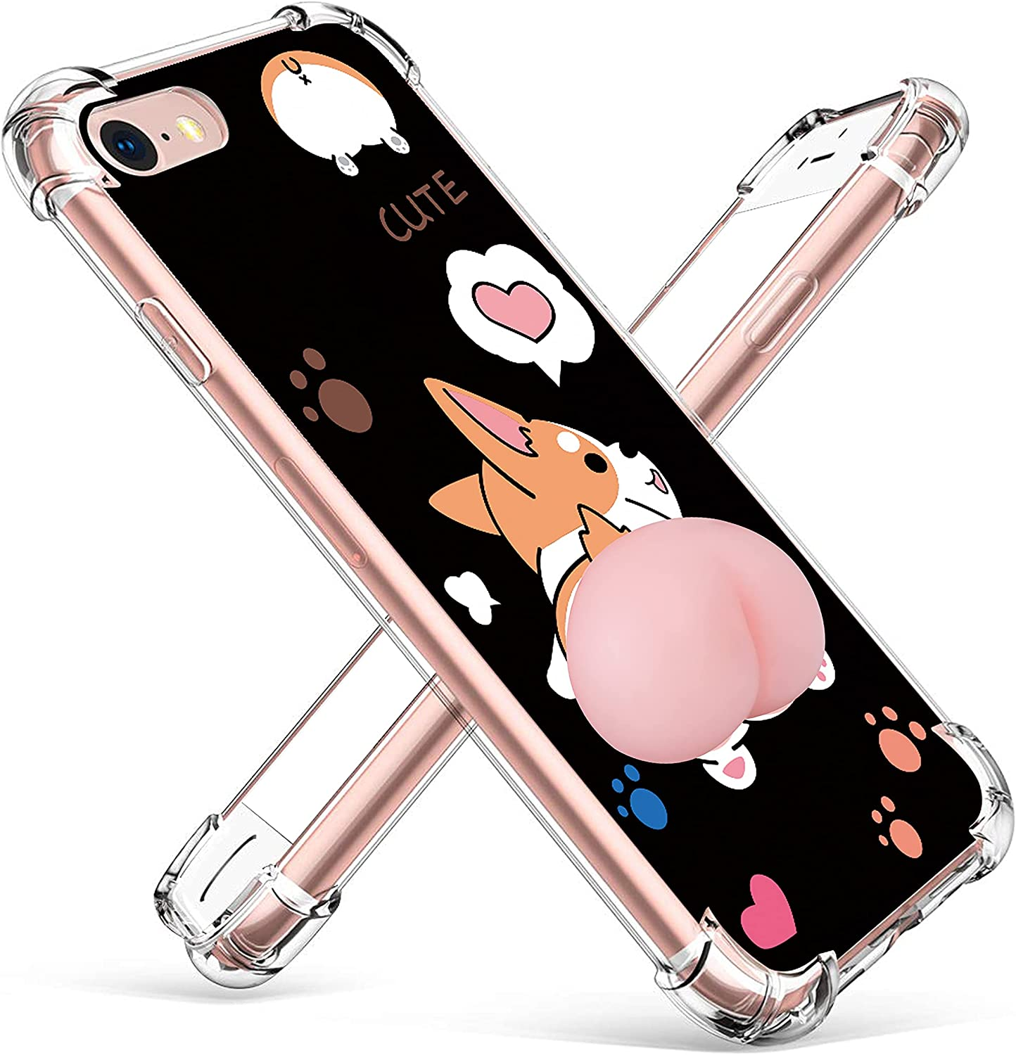 oqpa for iPhone 6 Plus/6S Plus Case Cartoon Character Funny Cute Fun TPU Design Cover for Girls Kids Boys Teen Fashion Cool Unique Aesthetic Animal Corgi Butt Dog Cases(for iPhone 6 Plus/6S Plus 5.5