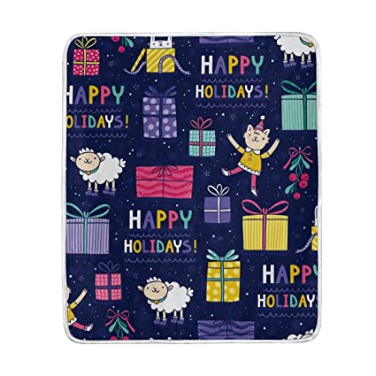 Amazon.com  Happy Holidays Xmas Cute Throw Blanket for Couch Bed ... 5bd80db7dd