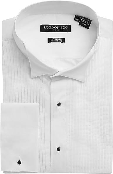 London Fog Londres Niebla Hombre Wingtip Cuello Camisa de puño francés de Esmoquin