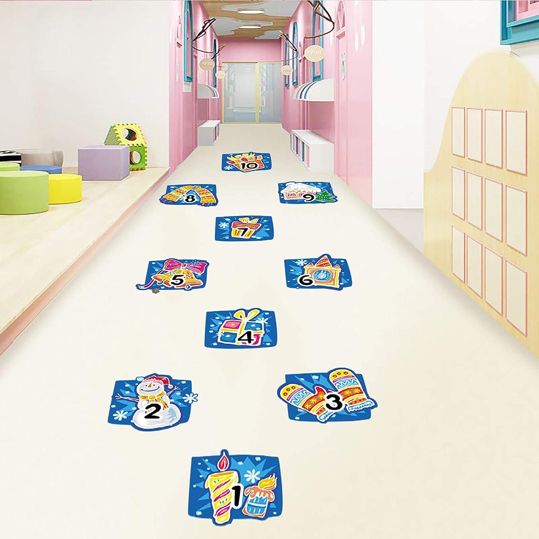 10 Number DIY Christmas Floor Decals, MOTASOM Removable PVC Snowman Digital Wall Stickers, Unique Xmas Floor Art Decor Supplies for Baby Kids Room Bedroom Nursery Christmas Party (4 Sheet)