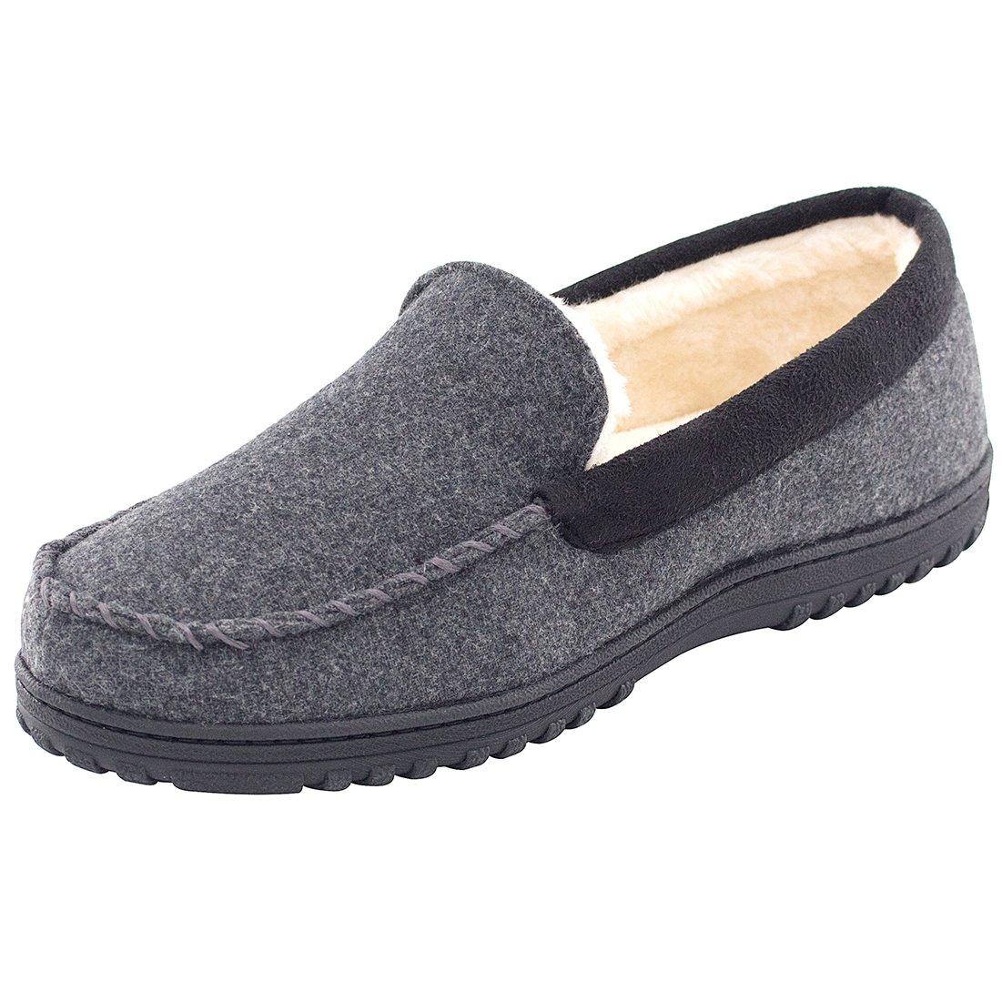 Men's Comfy & Warm Wool Micro Suede Plush Fleece Lined Moccasin Slippers House Shoes Indoor/Outdoor (43 (US Men's 10), Dark Gray)