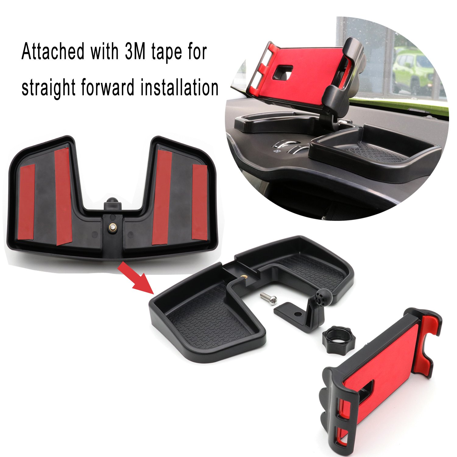 Yoursme Ipad Phone Holder Black/&Red ABS Car Dash 360 Degree Rotate with Storage Box GPS Auto Mobile Stand Kit for Jeep Renegade 2015 2016 2017