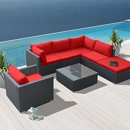 Attrayant Modenzi 7H U Outdoor Sectional Patio Furniture Espresso Brown Wicker Sofa  Set (Red)