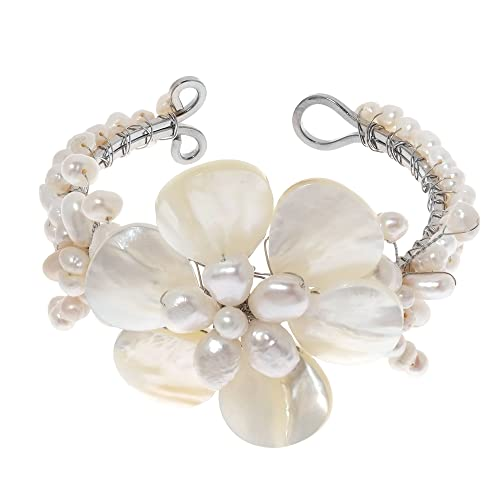 AeraVida Lily Elegance White Shell Mother of Pearl Bracelet-Cultured Freshwater Pearl Beaded Cuff