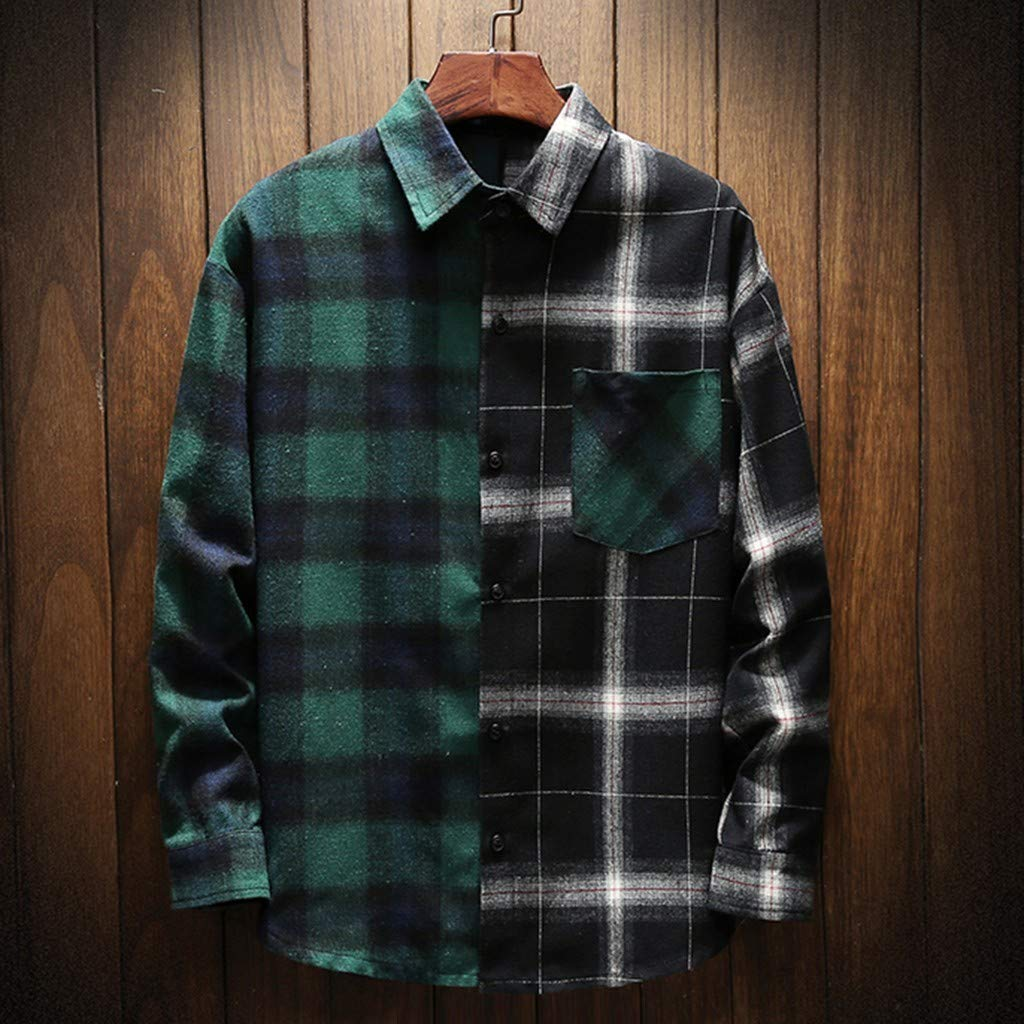 Mens Fashion Retro Plaid Shirt,Patchwork Color Collision Long-Sleeved Personality Blouse