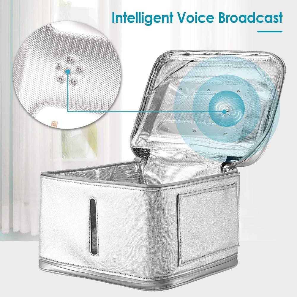 InLoveArts Sac st/érilisateur UV pliable Bo/îte de d/ésinfection USB Sac de d/ésinfection sous-v/êtements LED portable UV pour masque facial b/éb/é bouteille brosse /à dents bijoux sac st/érilisateur UV