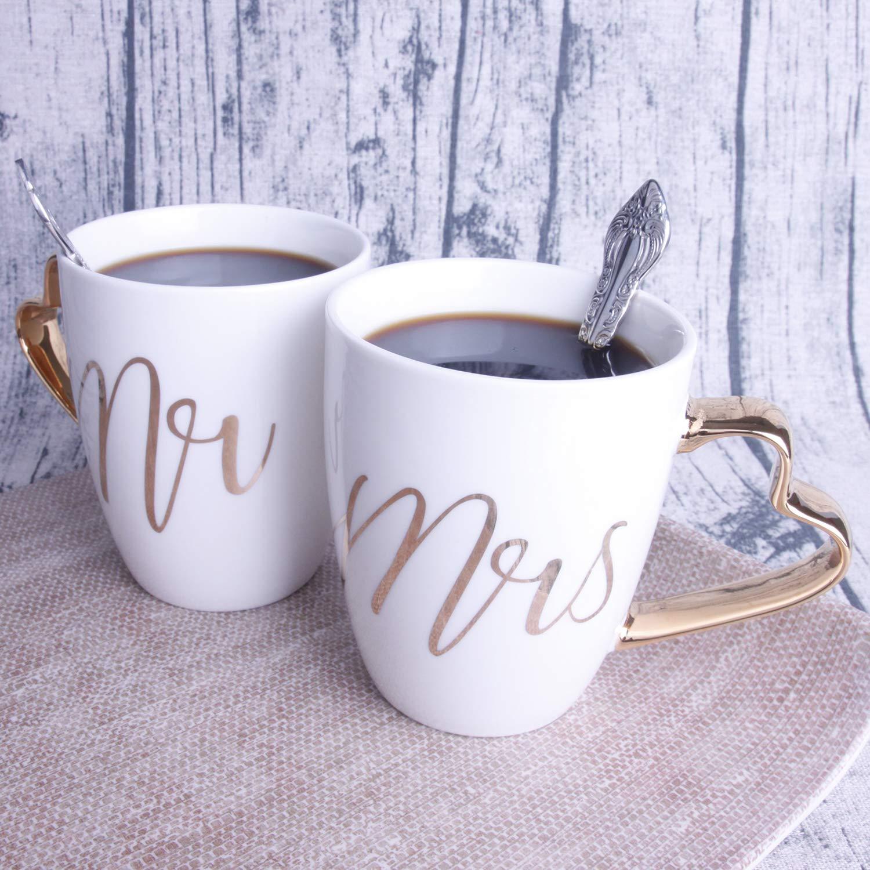 Pack of 2 Wedding Gifts Mr Mrs Mugs Novelty Coffee Mugs Real Gold Mug Aniversary Gift Couple Mug Set Coffee Mug Set 13OZ