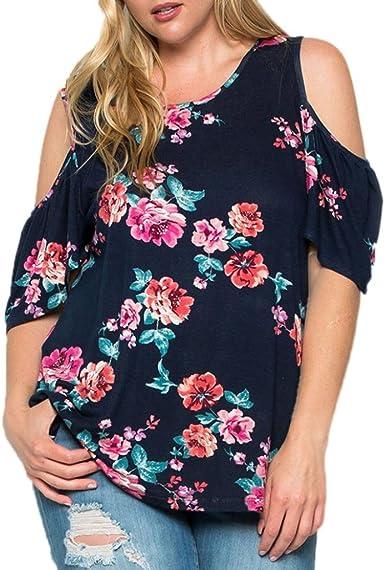 SHOBDW Camisetas de Mujeres de Talla Grande Impreso Floral Hombro ...
