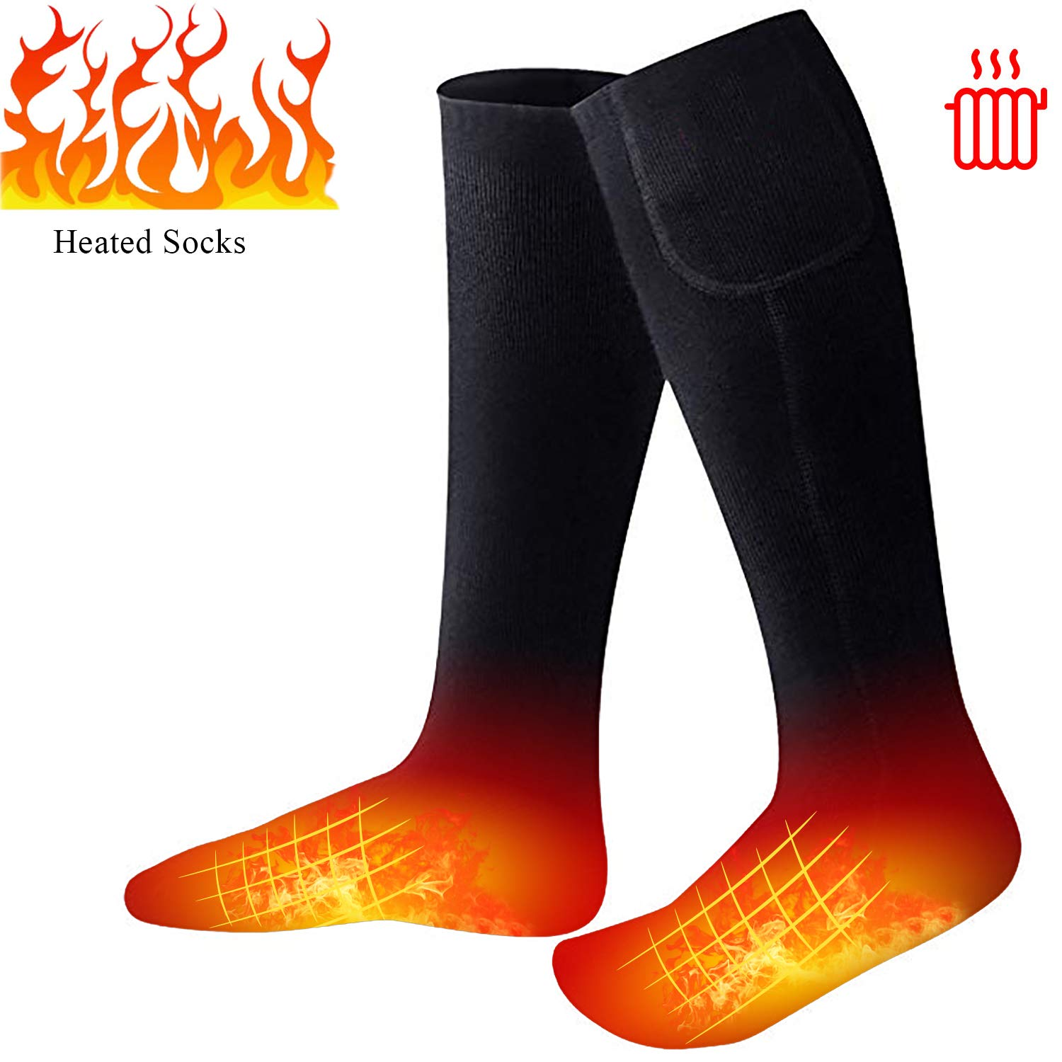 Missblue Heated Electric Warm Thermal Boot Socks,Rechargeable Battery Powered Winter Foot Warmers,Winter Heating Sox Chronically Feet(Battery not Included) (Black) by Missblue