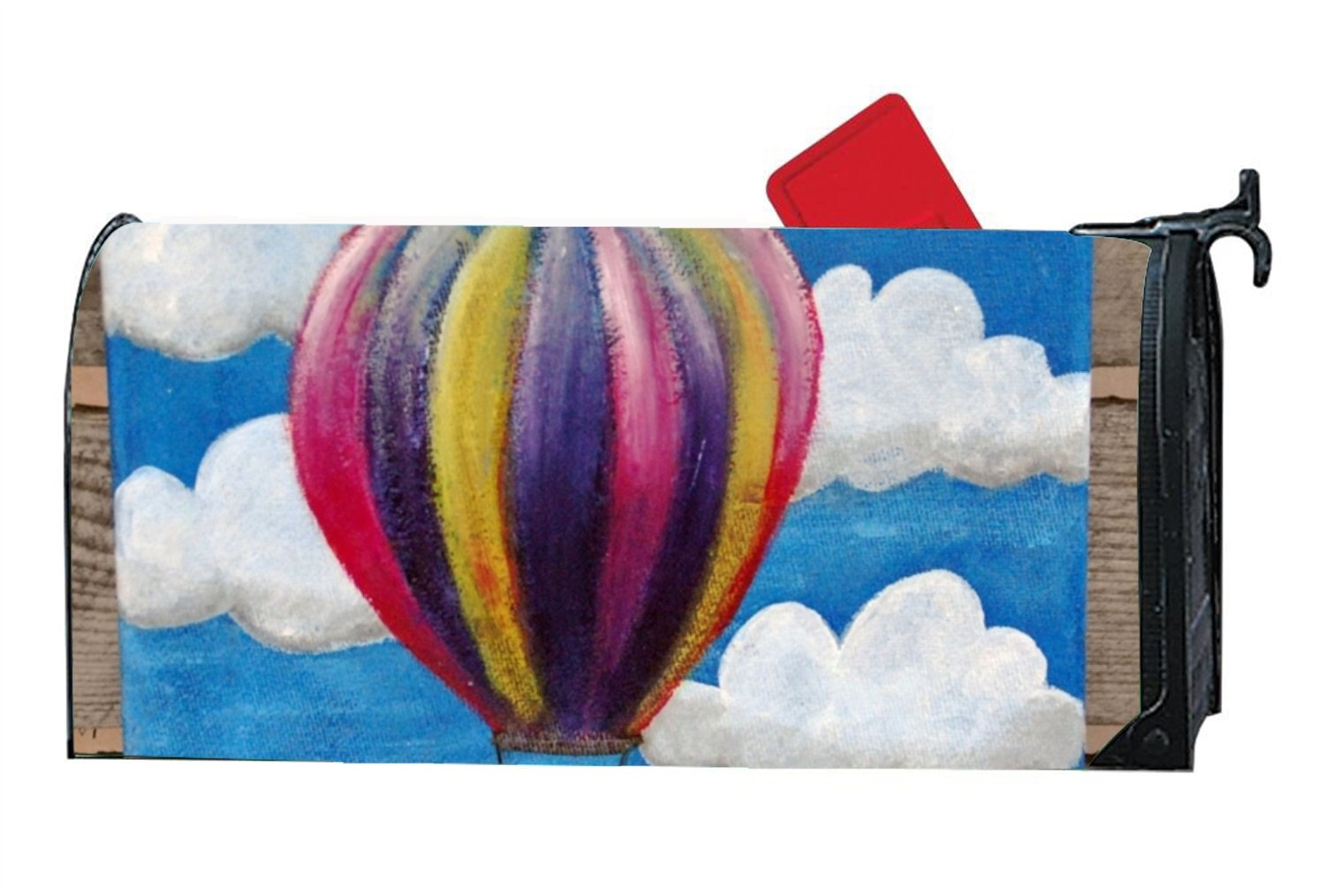 Mailbox Cover - Decorative Magnetic Mailbox Hot Air Balloon Design,Surrounds all 6.5'''' x 19'''' standard or traditional size mailboxes