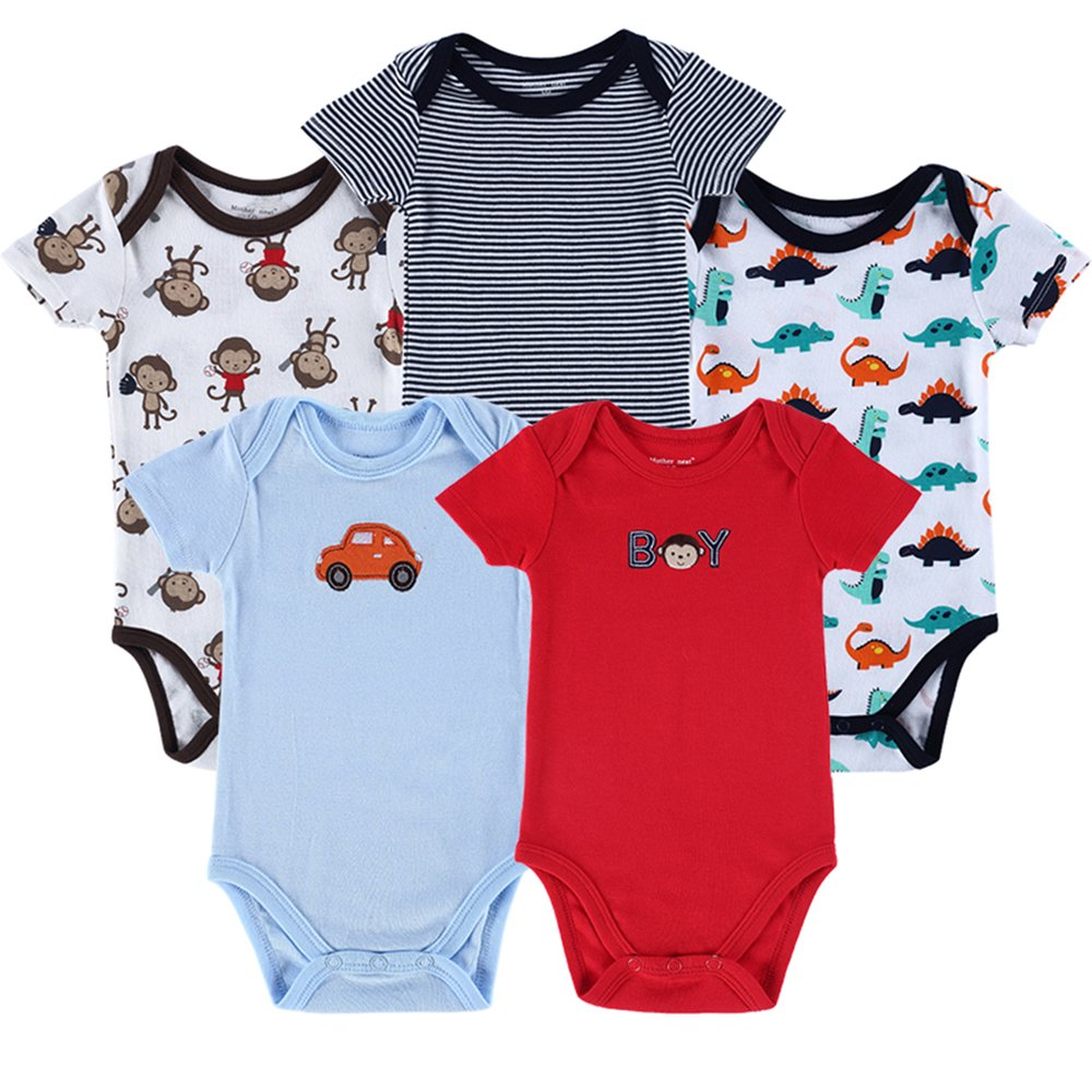 Fairy Baby Newborn Baby Bodysuits Pack of 5 Short Sleeve Vests for Boys Girls, Mixed Colour, 0-12 Months