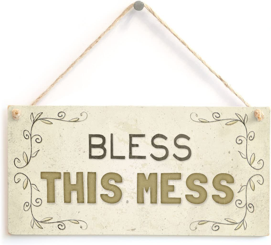 """Meijiafei Bless This Mess - Beautiful Welcome Home Accessory Gift Sign 10""""x5"""""""