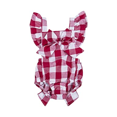31f9b282ae05 Newborn Infant Baby Girls Clothes Plaids Checks Romper Jumpsuit Bodysuit  Outfits (12-18 Months