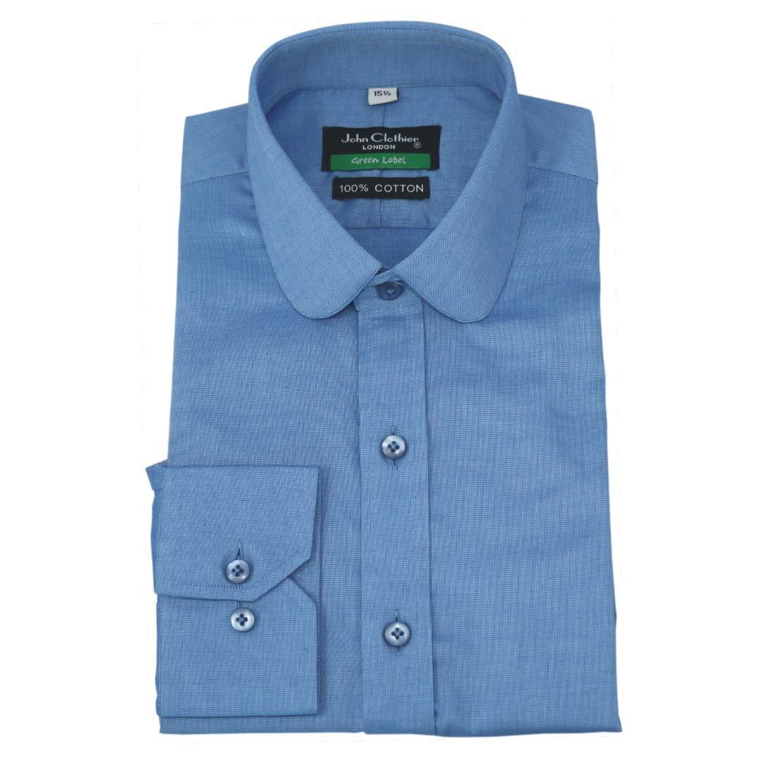 blancPilotShirts Chemise pour Hommes Peaky Blinders Col Dandy Col Rond Uni S Bleu voiturereaux pour Manchette Simple 200-34